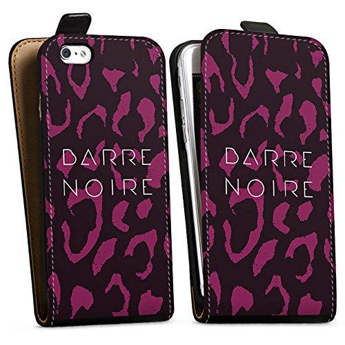 Apple iPhone X Silikon Hülle Case Schutzhülle BARRE NOIRE Fashion Leopard Downflip Tasche schwarz