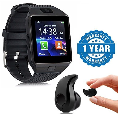 Drumstone Black DZ09 Bluetooth Smart Watch With Camera, Sim & SD Card Slot With S530 Stylish Mini Bluetooth In-Ear V4.0