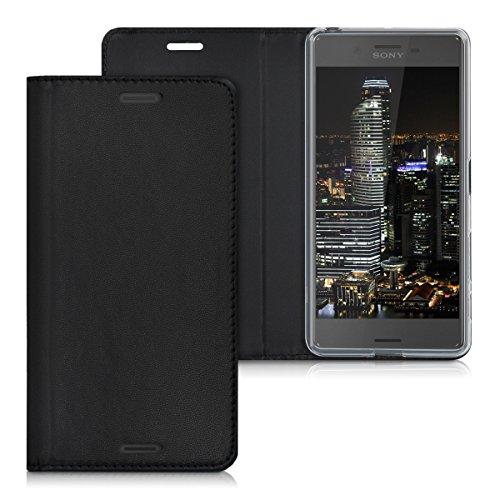 kwmobile Funda para Sony Xperia X Performance - Flip cover Case para móvil en cuero sintético - Estilo libro plegable negro
