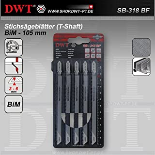 DWT 5 x BiM Stichsägeblätter Sägeblätter 105 mm für Metall und Plastik - SB-318 BF