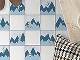 creatisto Fussboden-Fliesen kleben   Dekorativ-Aufkleber Folie Sticker Badfolie Küchen-Fliesen Badgestaltung   15x15 cm Design Motiv Bergoboter - 9 Stück