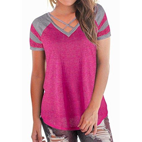 Chemise Femme,Manadlian Tuniques Hauts Femmes Casual T-shirt à manches courtes col V Patchwork