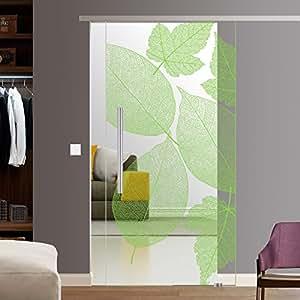 bf1900 210 as glasschiebet r glas schiebe t r softstop slimline 900x2050mm blattmuster komplett. Black Bedroom Furniture Sets. Home Design Ideas