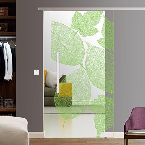 BF1900-210-AS: Glasschiebetür Glas Schiebe Tür SoftStop SlimLine 900x2050mm Blattmuster komplett mit SoftStop SlimLine Schienensystem, Bodenführung und 42cm Griffstangen (Glas-schiebe-türen)