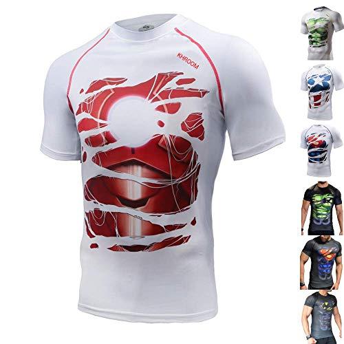 Khroom Camiseta de Compresión de Superhéroe para Hombre | Ropa Deportiva de Secado Rápido para Ejercicio, Gimnasio… 2