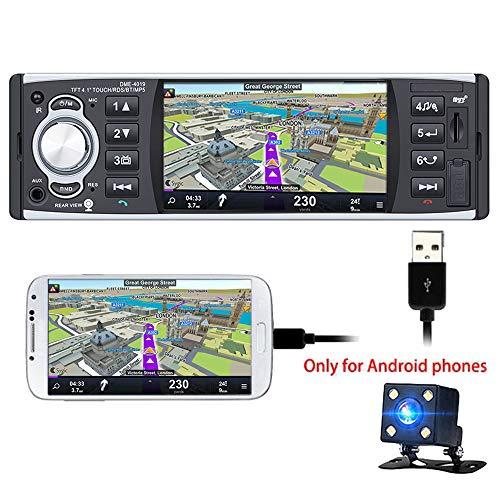 PolarLander Coche de Radio de 4 Pulgadas HD estéreo Bluetooth MP5 Reproductor de Pantalla de Espejo para Android teléfono 1 DIN USB/SD / FM/RDS con cámara Trasera