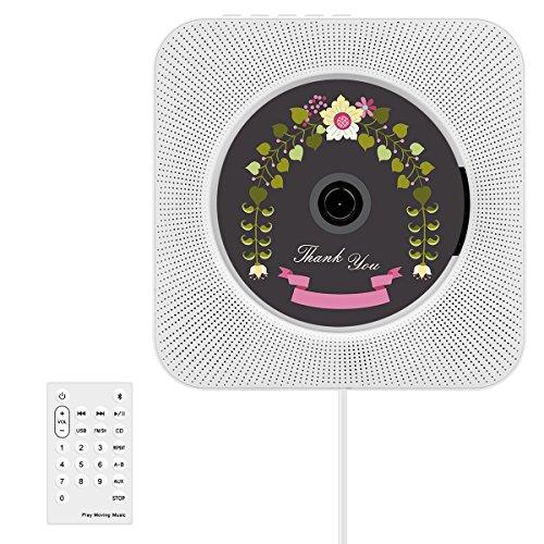 CD-Player, Wrcibo UKW-Radio HiFi Stereoanlage (MP3-fähiger CD-Player, USB-Port, AUX-IN, Fernbedienung, Stand und Wandmontage) -Weiß