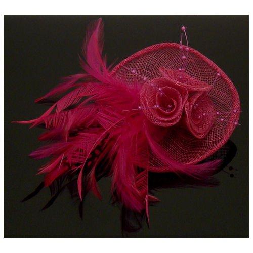 Acosta Rose Fuchsia mailles avec perles et plumes Motif Floral &Barrette Pince à Cheveux/Broche Clip