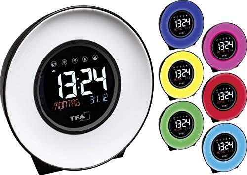 TFA Dostmann 60.2023.02 Mood Light Multi-Funktions-Lichtwecker, Kunststoff, weiß/schwarz, ((L) 138 x (B) 92 x (H) 139 mm