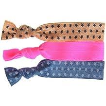 Twistband Printed Star Elastiques Assortis x 3 Denim Etoiles Blanches/Rose Fluo/Beige Etoiles Bleues