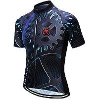weimo Star Ropa Deportiva Cilindro de Camiseta Manga Corta Ropa Bicicleta Top Hombres MTB Jersey Transpirable Verano Negro, Hombre, Color Negro, tamaño Extra-Large