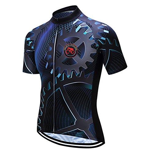 Weimostar Bike Trikot Herren Radtrikot Kurzarm Fahrradbekleidung Mountain Road Top MTB Trikot Racing Shirts Atmungsaktive Sommersportbekleidung Schwarz Größe XL