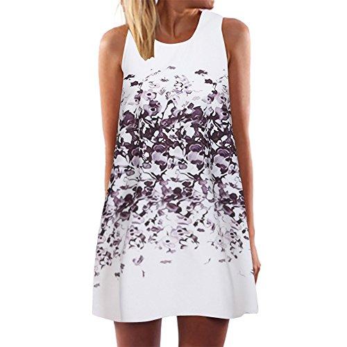 iYmitz Damen Sommer Vintage Boho Ärmelloses Sommerstrand Gedruckt Kurzes T-Shirt Minikleid Blumenkleid Trägerlose Tops(Weiß-a8,EU-46/CN-3XL) -