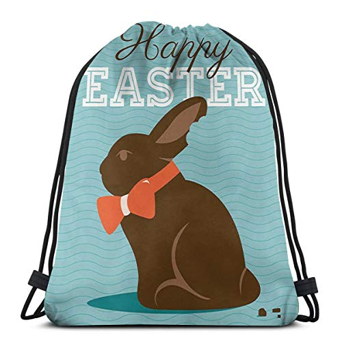 Bag hat Chocolate Bunny with An Orange Bow Tie On A Wavy Stripes Background 3D Print Drawstring Backpack Rucksack Shoulder Gym for Adult 16.9