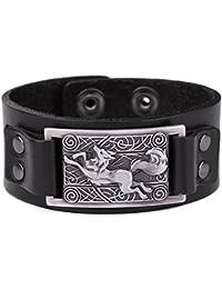 Vintage Nordic Fenrir lobo celta nudo Metal Cuff pulsera espiritual Animal joyas para hombres/mujeres regalo