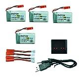 Batterie pour Drone, 4X 3.7 v 750mAh Batterie + 4 en 1 Chargeur USB pour MJX x400...