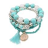 Paolian Femmes Bohême Bracelet Pierres colorées Perlé Wristband Mode Bijoux Cadeau idéal pour l'anniversaire (Bleu)