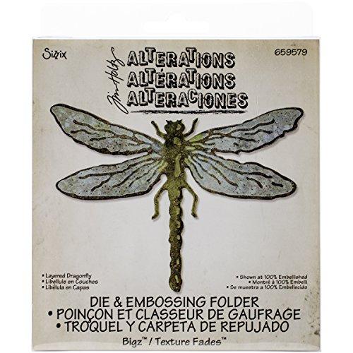 Sizzix Bigz Stanzschablone Layered Dragonfly mit Textur Fades von Tim Holtz - Floral Layered