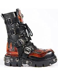 New Rock Boots @ Metal Schuhe @ Stiefel Rock @ Punk Goth @ Schwarz & Flammen (Black & Flame)