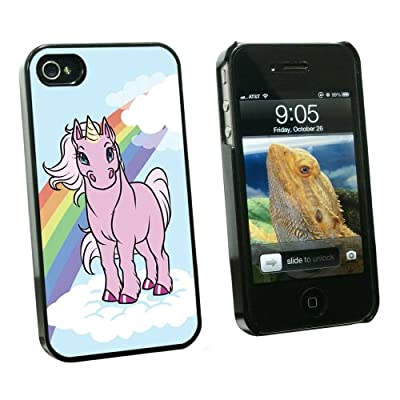 Graphics and More Cute Pink Unicorn On Rainbow And Cloud - Snap On Hard Protective Case for Apple iPhone 4 4S - Black - Carrying Case - Non-Retail Packaging - Black from Graphics and More