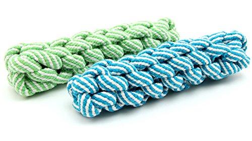 Pentaton Hundespielzeug Kauspielzeug Spielseil Spieltau für Hunde Baumwollraupe Baumwollknochen Wurfspielzeug aus Baumwolle, geflochten, zur Zahnreinigung (rot)