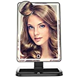 LED Mirror [Upgraded Version] Illuminated Dimmable Vanity Mirrors, 80 Pcs Blubs, Touch Screen Lighted Makeup Table Mirror, Black, Bonus Pocket Make Up Mirror, with Light