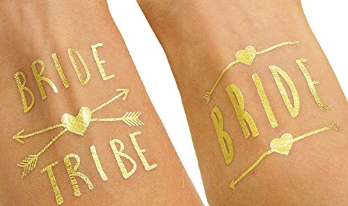 12-pack-Bachelorette-and-Bride-Tribe-Temporary-Tattoos-by-Bachelorette-Babes-Metallic-Shiny-Gold-Tattoos-Bachelorette-Party-Supplies-and-Accessories-Favors