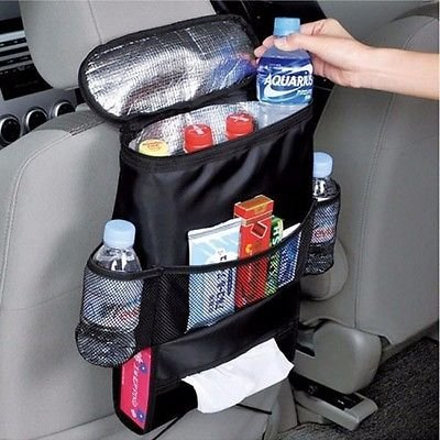 Silence-Shopping Waterproof Side Seat Fabric Car Auto Véhicule Retour Stockage Pocket Backseat stockage Hanging Sacs Organizer Litter Bag Pouch, multi-fonction voiture Retour Bag Black