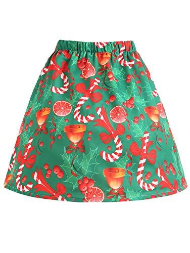 Yangyme Herrlich Weihnachten Bowknot Bell Print Plus Size Rock Halloween-Rock Damen Vintage Röcke Blumendruck Hohe Taille Gefaltete Linie Wiggle Knie Länge Rock Stil Vintage Rock (Size : 4XL)
