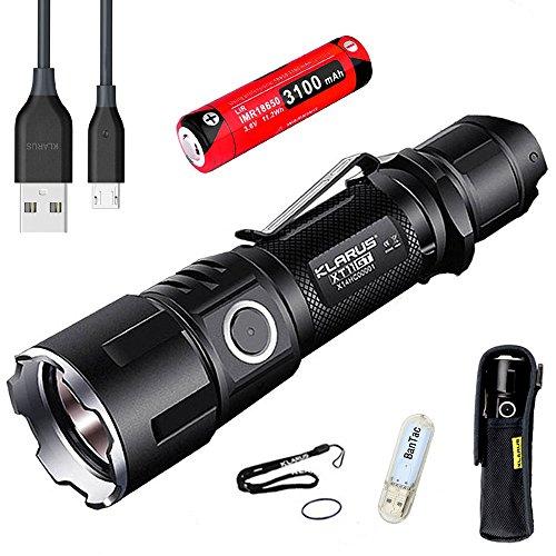 Klarus XT11GT Linterna CREE XPH35 HD E4 LED Linterna Táctica Recarga micro USB 2000 Lumens El haz alcanza más de 316 metros Linterna 18650 batería 3100mAh+Thenines USB luz