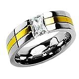 Piersando Titan Ring Partnerring Ehering Bandring Trauring Gold plattiert Silber mit Zirkonia Stein für Damen Herren Größe 49 (15.6)