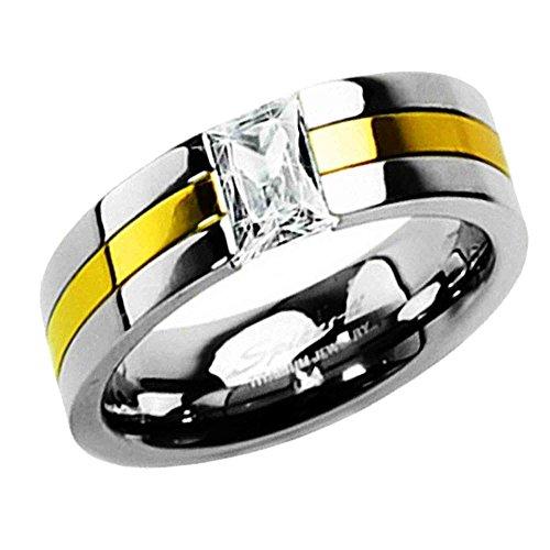 Piersando Titan Ring Partnerring Ehering Bandring Trauring Gold plattiert Silber mit Zirkonia Stein für Damen Herren Größe 65 (20.7)