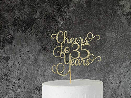 Cheers to 35 Years Loved Cake Topper 35 Years Loved Cake Topper Happy Birthday Happy 35th Birthday 35 Years Blessed Thirty Five Decor 35th