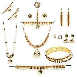 KHUSHI PURCHASE Multi-Colour Metal Bharatanatyam Full set (10 items) For Women