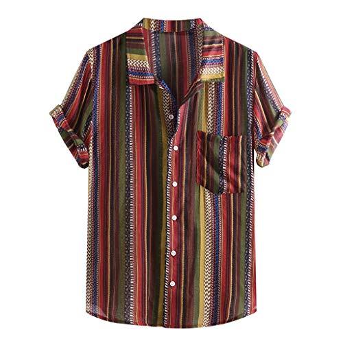 ☀NnuoeN☀ Camicia Casual da Uomo,Camicia Estiva da Vacanza al Mare,Maglietta Vintage da Uomo,Top Uomo a Righe Manica Corta a Righe Colorate