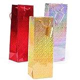 Geschenktaschen Flaschen 4er Set silber und gold Kreise Holografie-Effekt