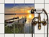 creatisto Fliesenfolie selbstklebend 15x15 cm 3x3 Design Bridge to the sun (Erholung) Klebefolie Küche Bad