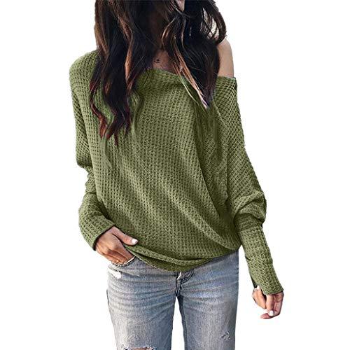 OUICE Femme Pull Femme Hiver Pas Cher Tricot Gaufré Kraft Couleur Unie Automne Et Hiver Chauve-Souris Lace Sweater Blouse