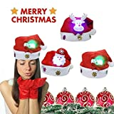 zchg 6 Pack Christmas Applique Cartoon Children LED Glowing Christmas Caps Cute Holiday Jewelry Parent-child Christmas Hat