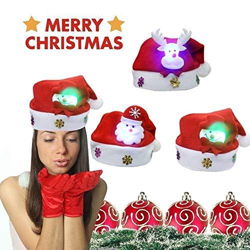 zchg 6 Stück Weihnachtsmütze, Cartoon-Kinder-Weihnachtsmütze mit LED-Leuchten, niedlicher Weihnachtsschmuck, Eltern-Kind-Weihnachtsmütze