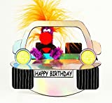 Pop Up Geburtstag ZZ Design Grußkarte PopShot Happy Birthday silbernes Auto 16x16cm