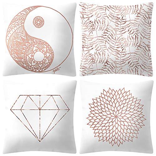 Cwemimifa Kissenbezüge Blau,Rose Gold Pink Kissenbezug Platz Kissenbezug Home Decoratio,Zierkissen,Rosa