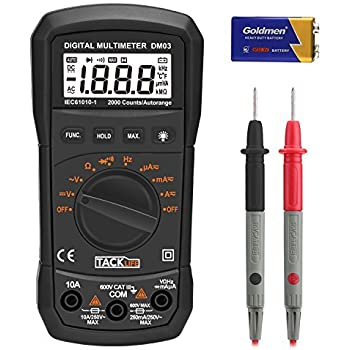 Digital Multimeter, Tacklife DM03 Auto Ranging Electronic Voltage Multi Meter Volt Amp Ohm Diode and Continuity Tester with Backlit LCD, Max Value Display and Data