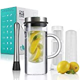 OnePlus Thermal Shock Resistant 3 in 1 Fruit Infusion Strainless Steel Borosilicate Glass Pitcher/Hot/Cold Coffee and Tea Maker with Lid and BPA-free