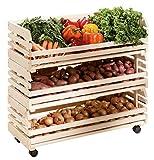 H24living Küchenwagen Früchtehorde Küche Rollwagen Regal Allzweckwagen mit 3 Ablagen, aus Massivholz auf Rollen groß
