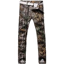Hombres Impreso Pantalones Vaqueros Slim Fit Larga Straight Jeans Mantener El Calor Camuflaje 38