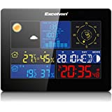 Excelvan professional Home All-in-1 Large Color LCD display Wireless Weather Station with Thermo-hygro sensor, Wind Speed & Rain, Temperature, Humidity, Barometer, Moon Phase