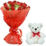 Florazone Love Is In The Air N Sweet Pal (Bunch of Red Roses with Teddy) Same Day Delivery