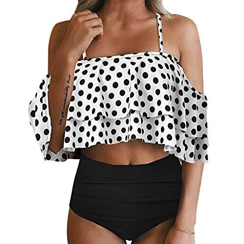 Asalinao Frauen Zweiteiler Schulterfrei Rüschen Volants Crop Bikini-Oberteil mit Print Ausgeschnittenen ()