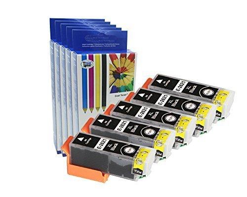 Preisvergleich Produktbild 5 Druckerpatronen kompatibel fuer Epson T2621-Shwarz für Epson XP-600 605 610 615 700 710 800 810, Epson T2621, Black